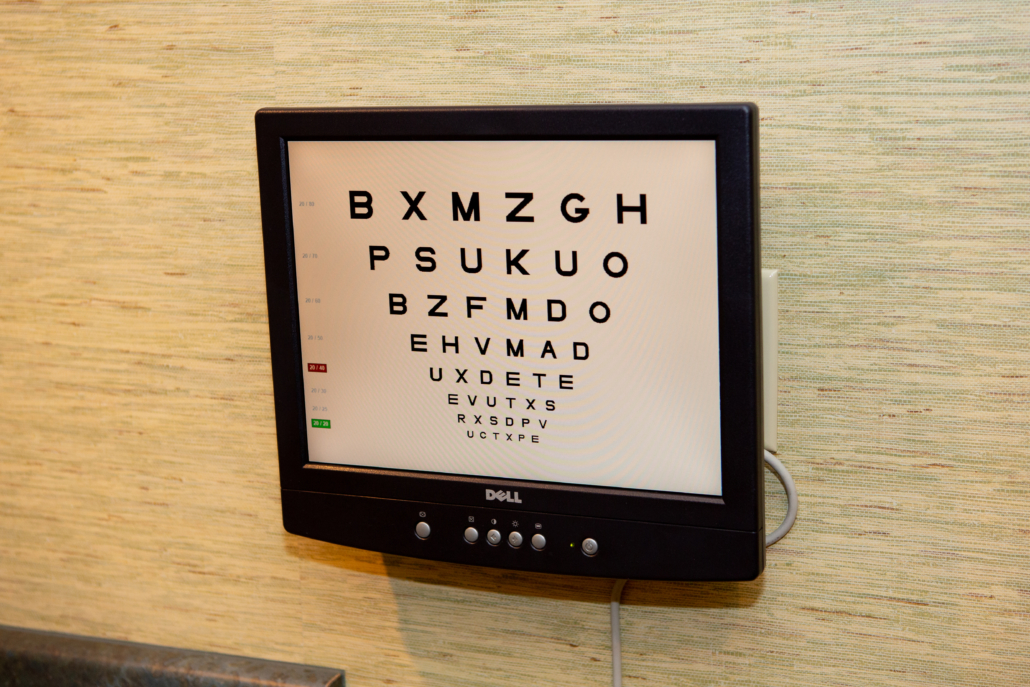 Eye chart of individual letters