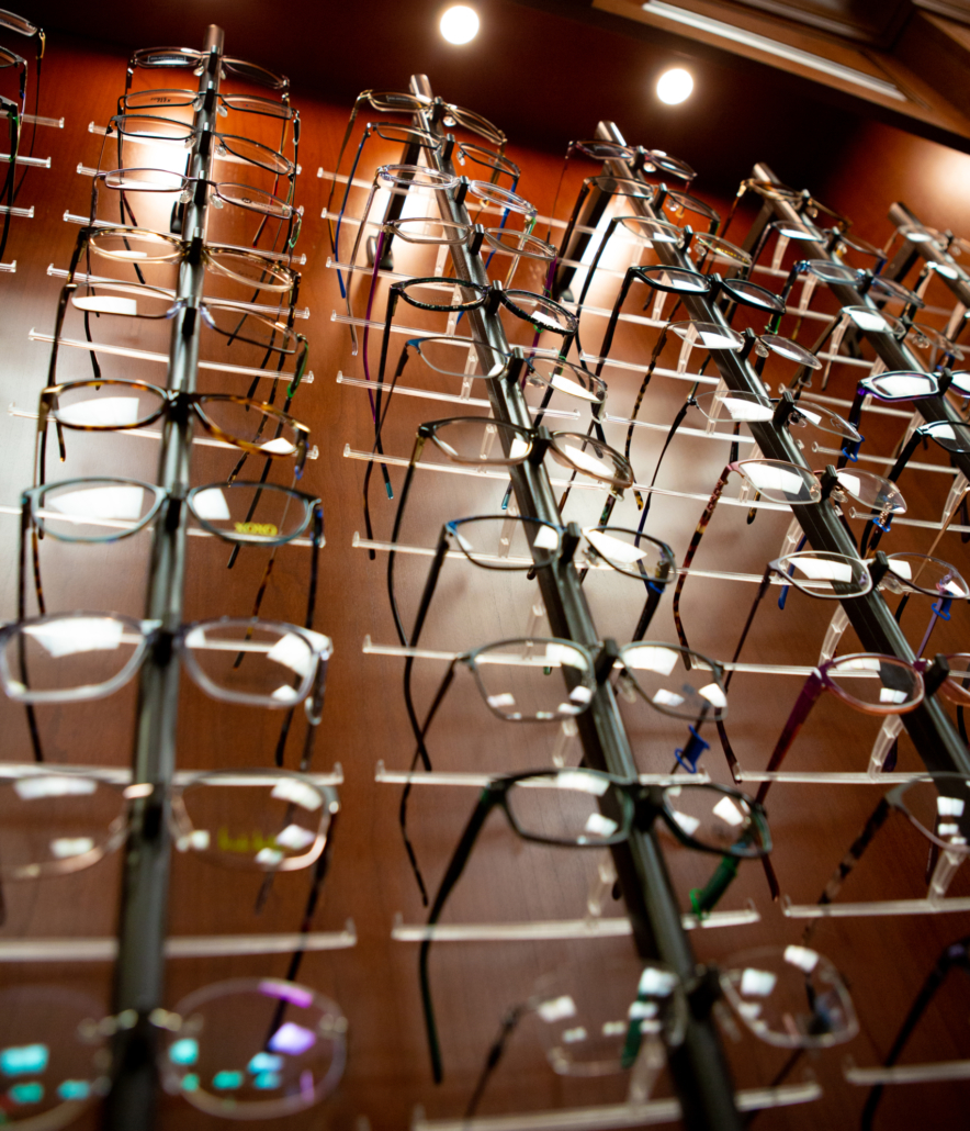 Display case of glasses