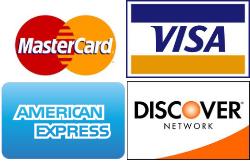 MasterCard, Visa, American Express, and Discover logos
